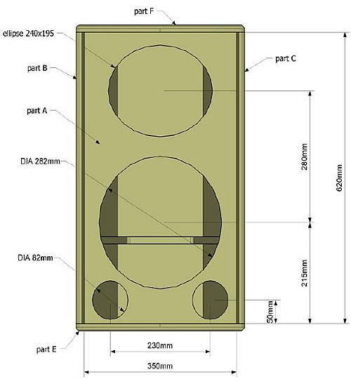 Vista frontal da caixa de som