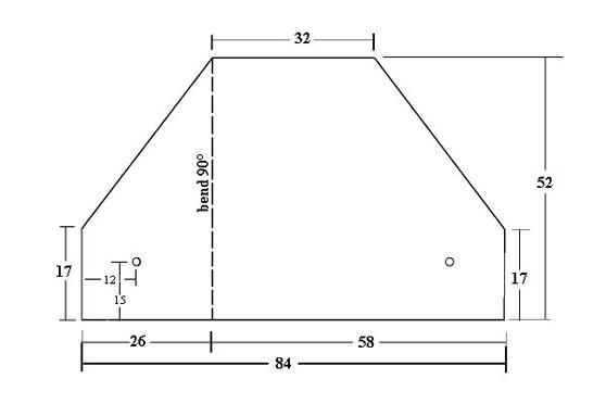 Desenho da parte do suporte da bobina com as medidas